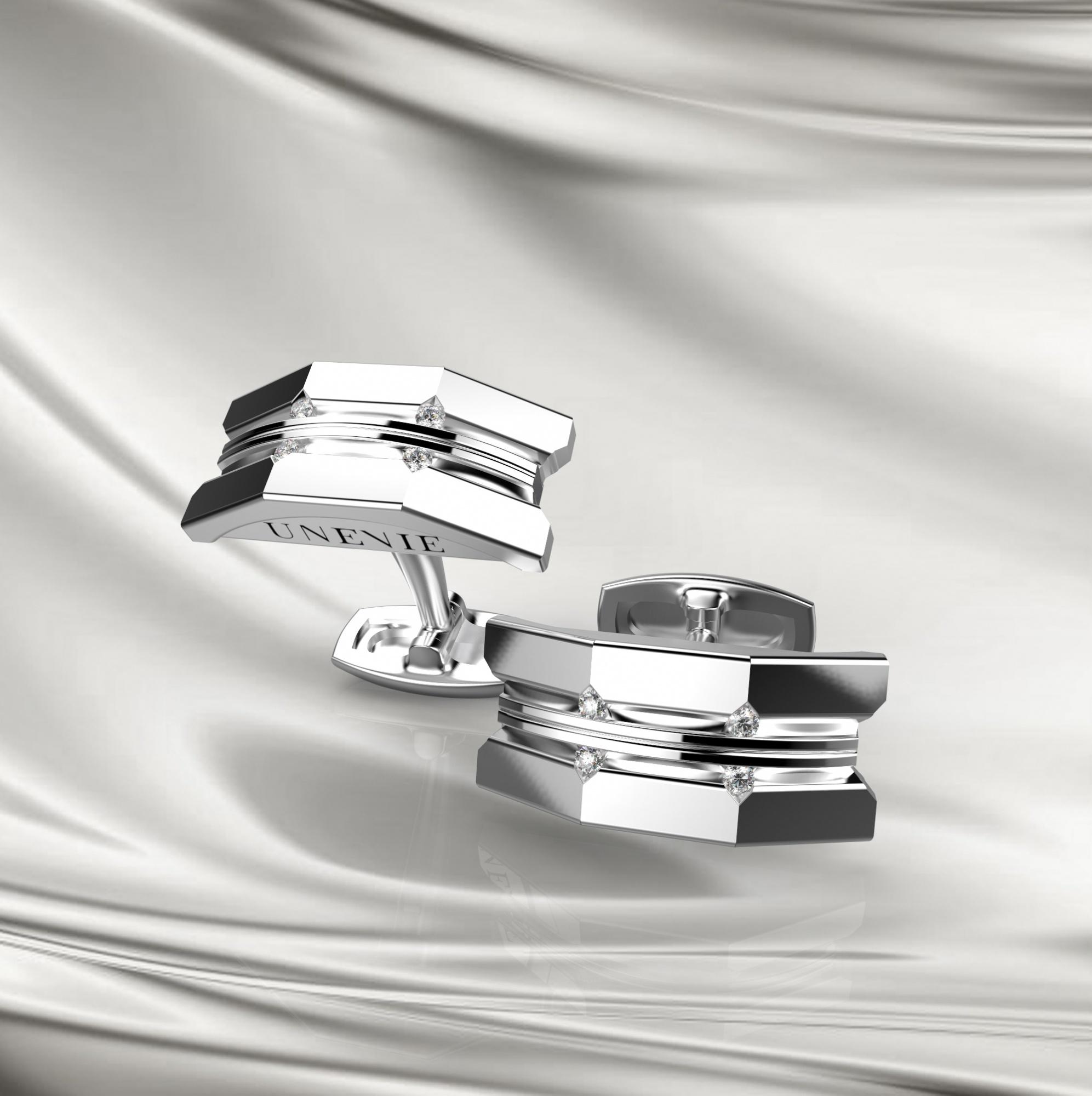 М10 Запонки из белого золота с бриллиантами