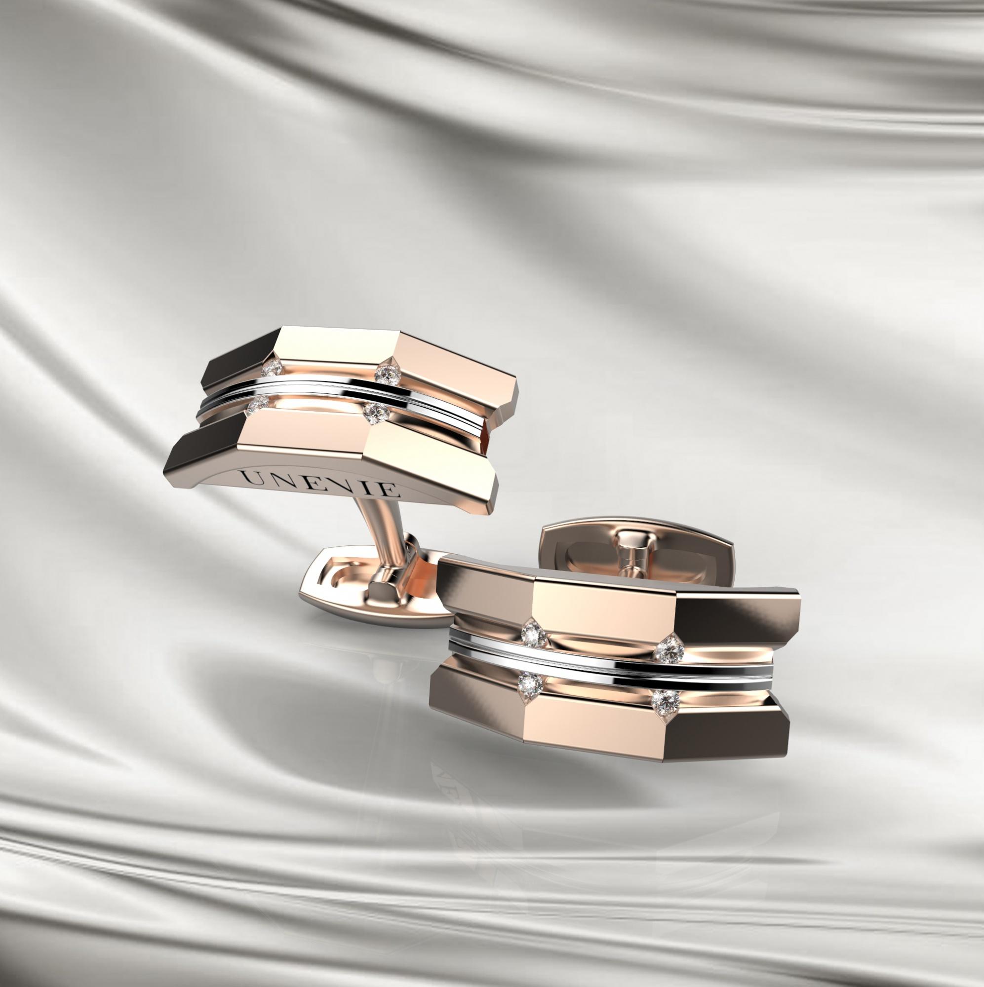 М10 Запонки из розово-белого золота с бриллиантами