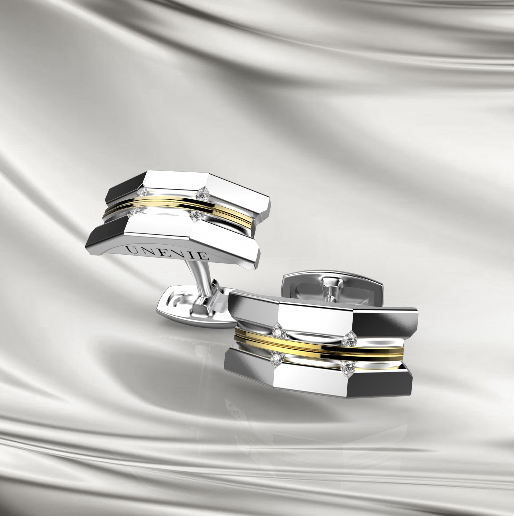 M11 Запонки из серебра с фианитами