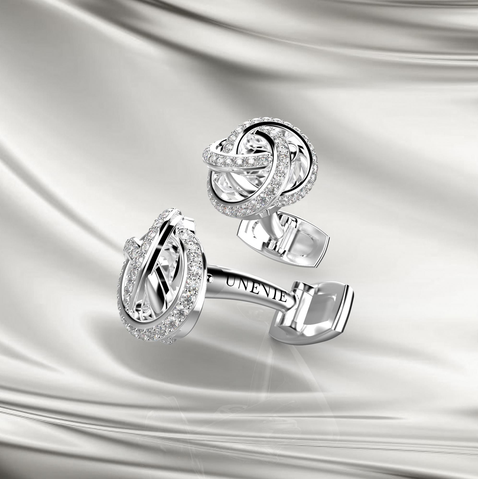М14-1 Запонки из серебра с фианитами