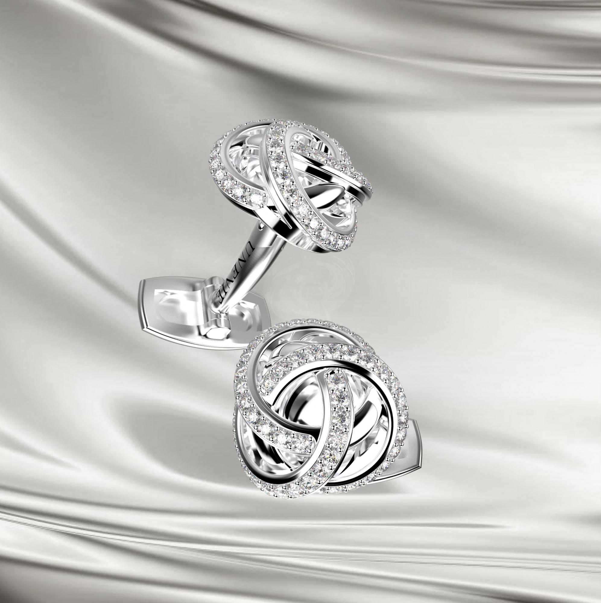М14 Запонки из белого золота с бриллиантами