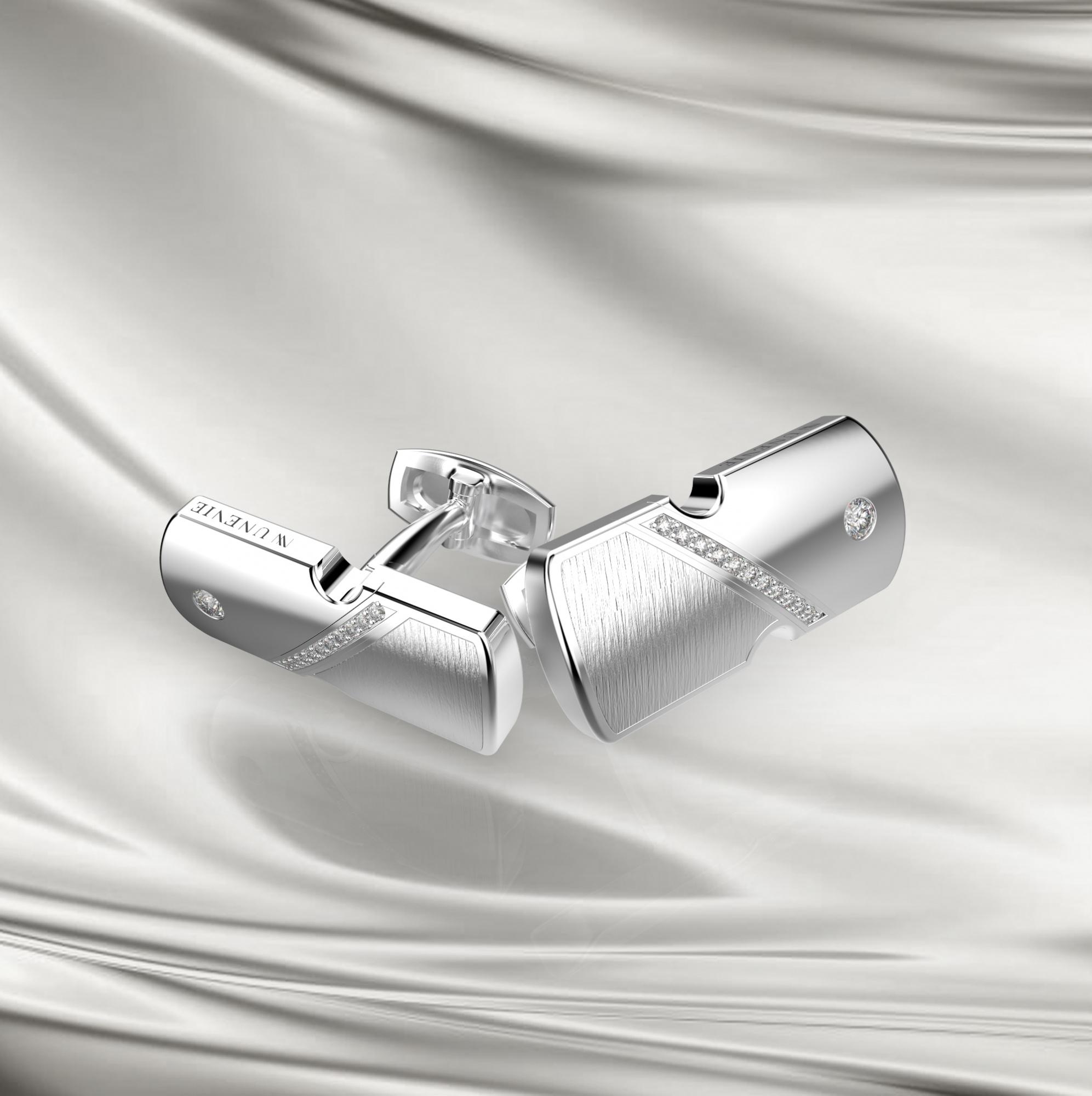 М15-1 Запонки из серебра с фианитами