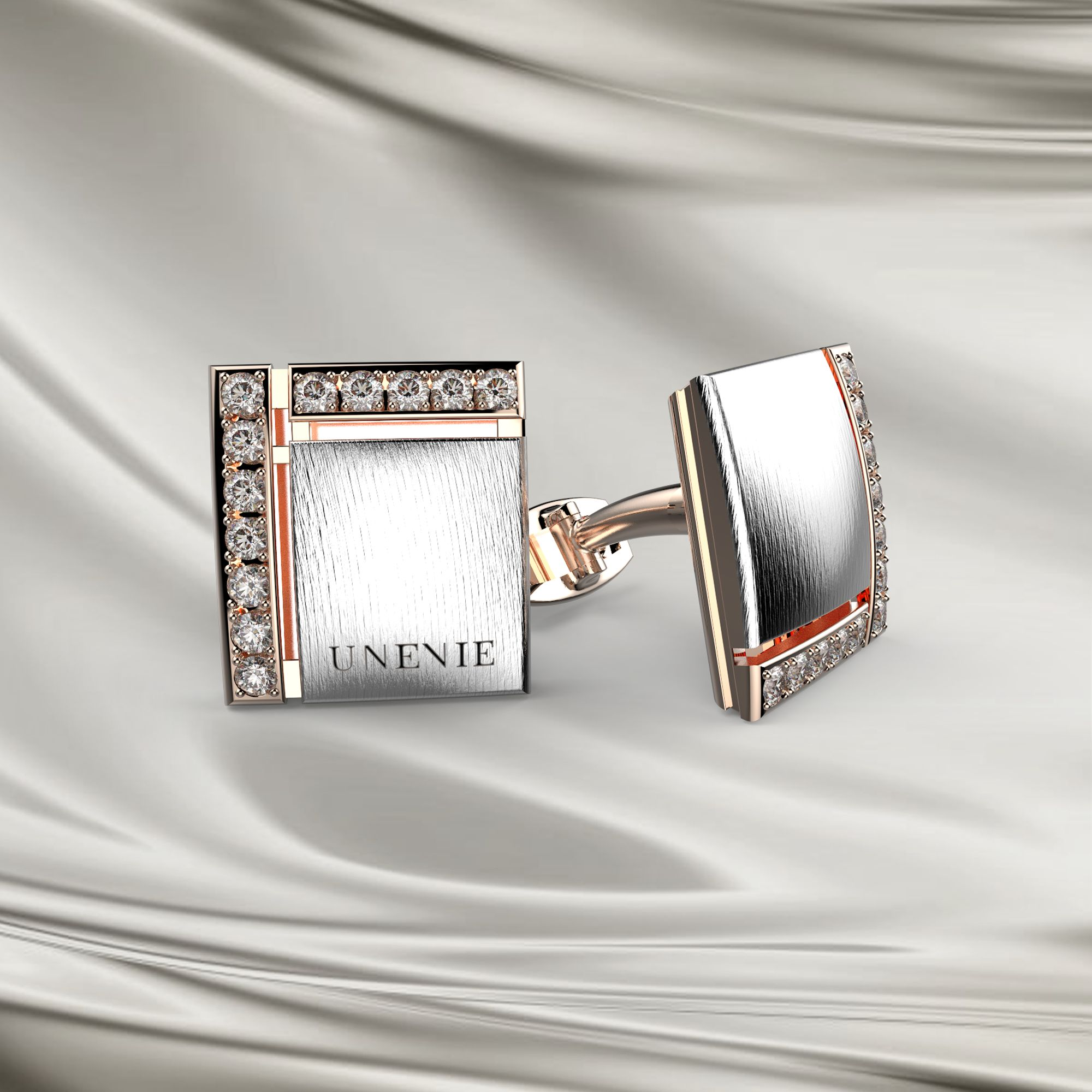 М6 Запонки из розово-белого золота с бриллиантами