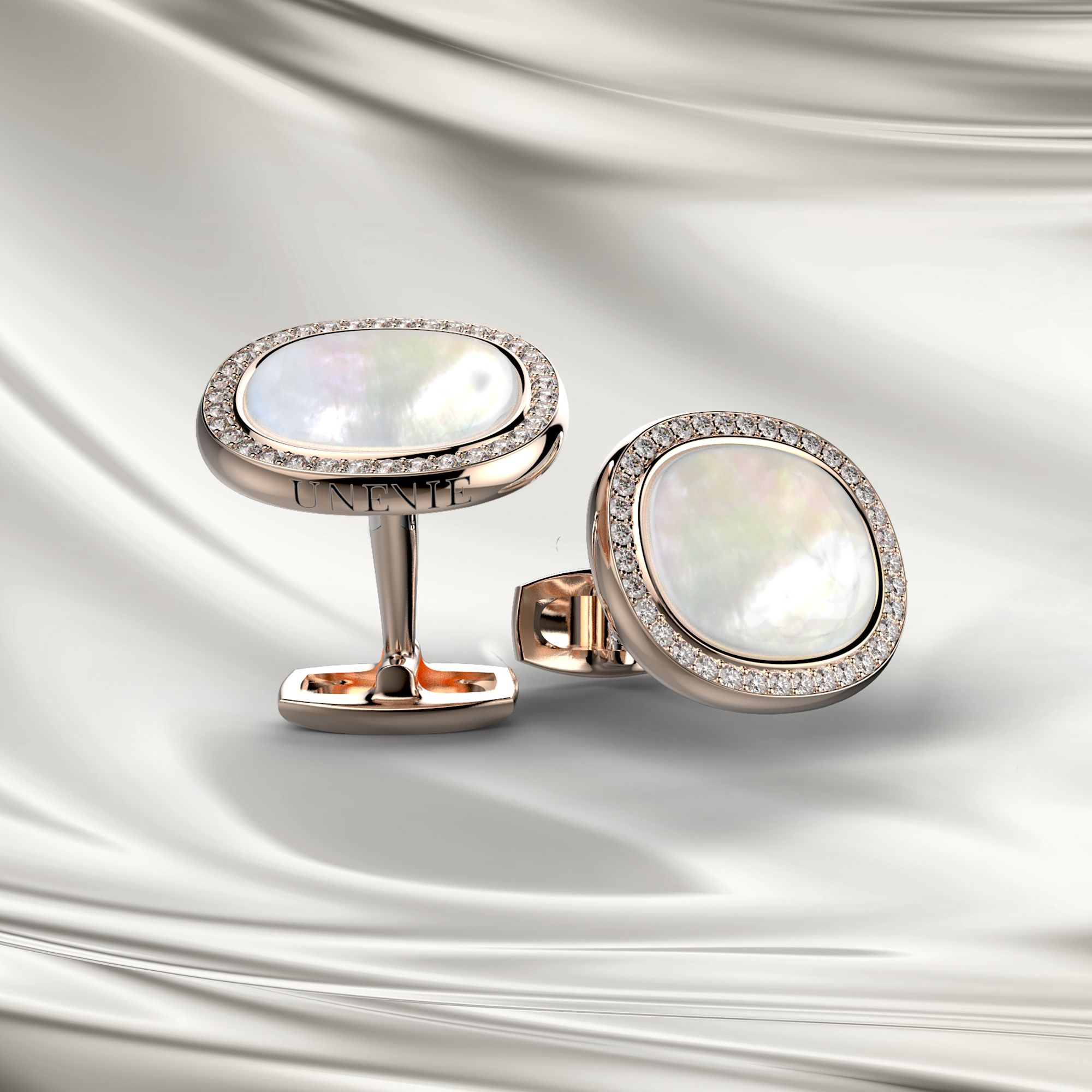 М3 Запонки из розового золота с бриллиантами и натуральным перламутром