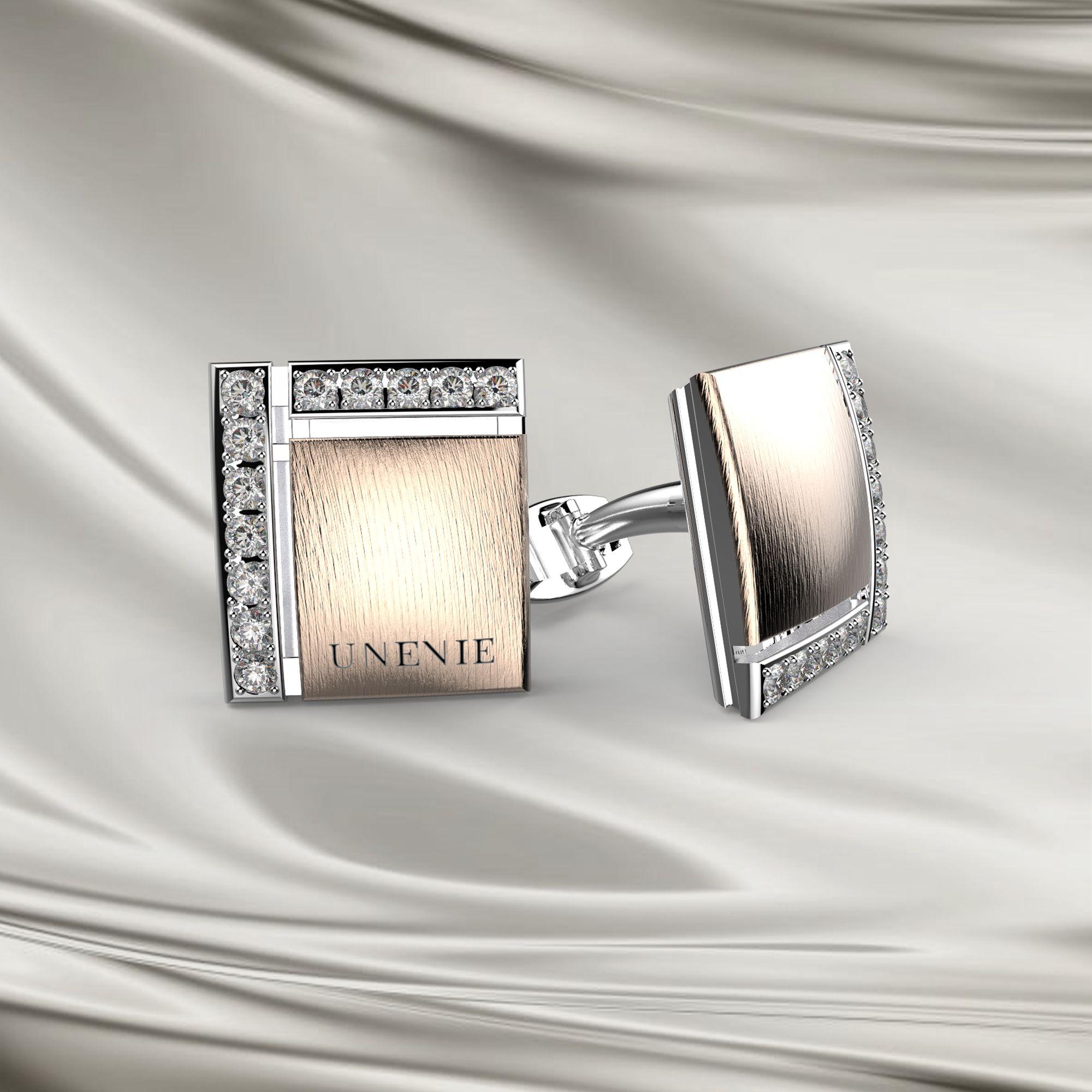 М6 Запонки из бело-розового золота с бриллиантами