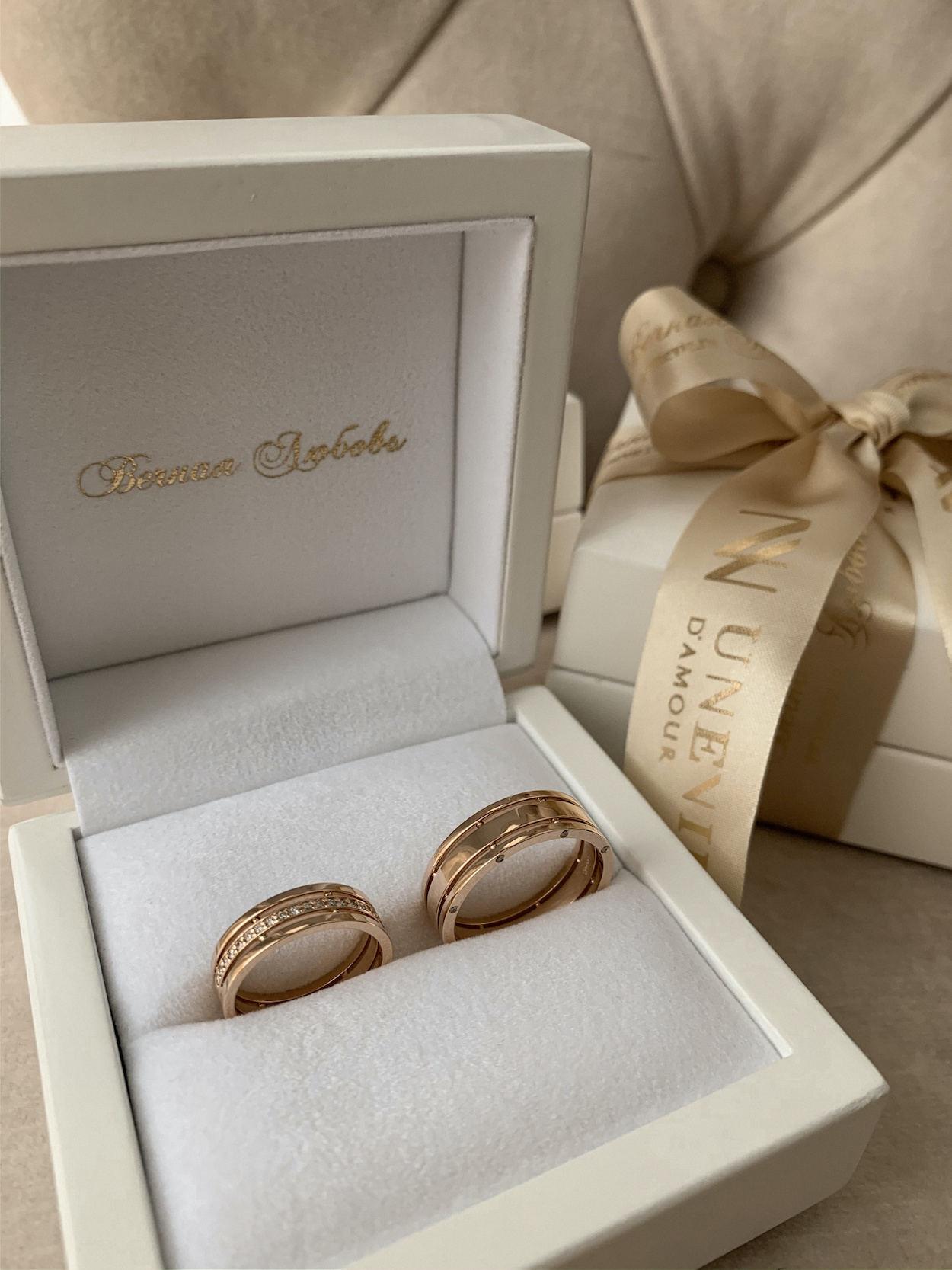 NV12 Парные обручальные кольца из розового золота с бриллиантами Unevie Damour