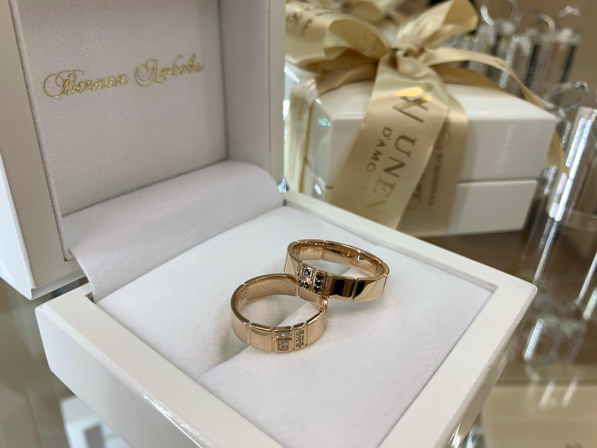 NV14 Обручальные кольца из розового золота с бриллиантами