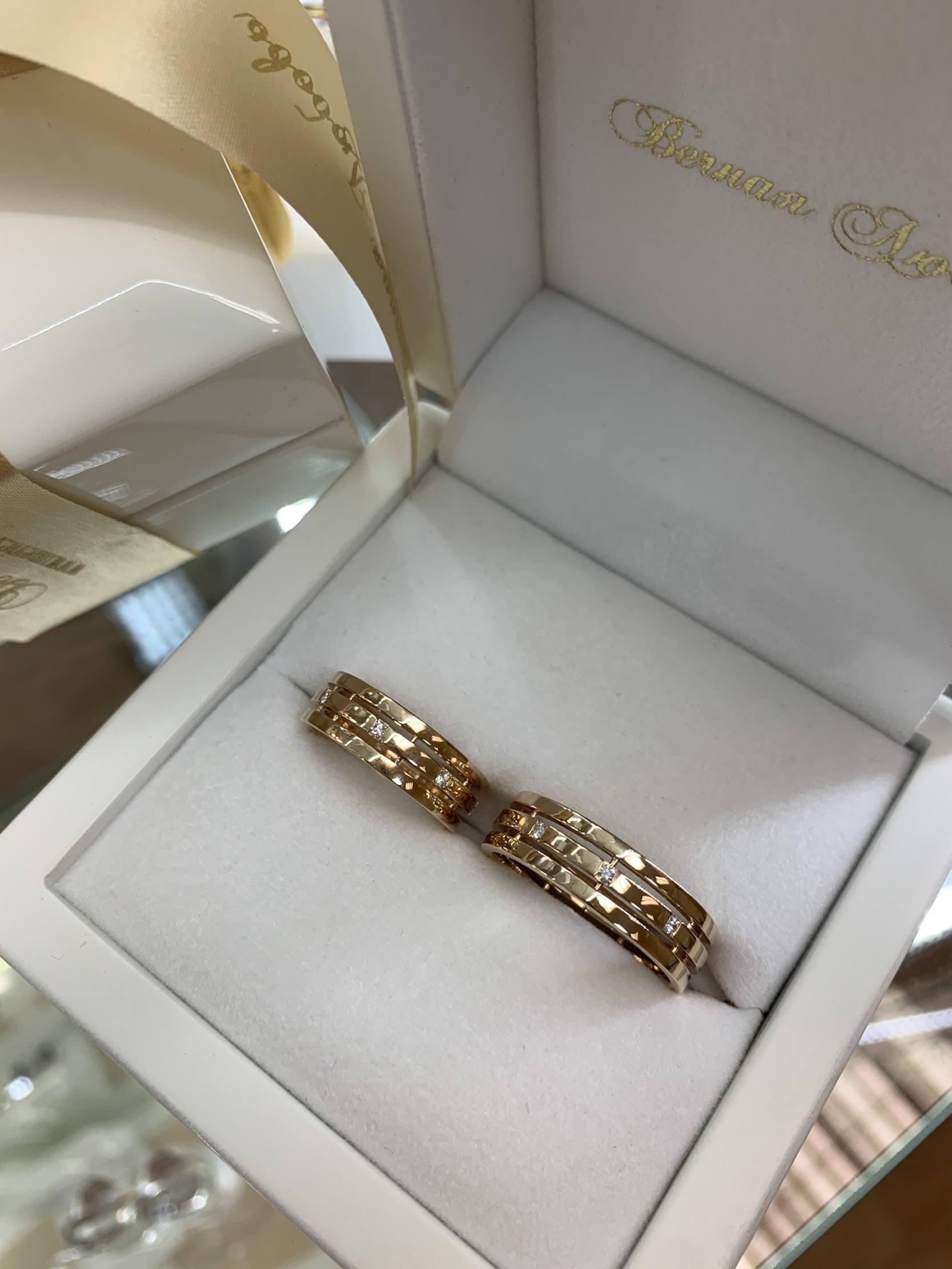 NV70 парные обручальные кольца из розового золота с бриллиантами